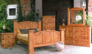 Traditional Style Rustic Knotty Pine Bedroom Set - Real Wood - Western