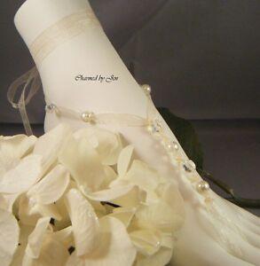 IVORY-Wedding-Beach-Bridal-Czech-Glass-Pearl-Ribbon-BAREFOOT-SANDALS-New