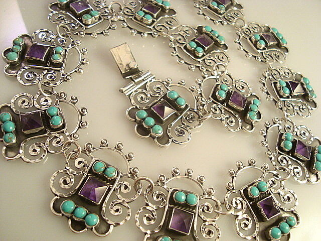VINTAGE DESIGN TAXCO MEXICAN STERLING SILVER AMETHYST FLOWER NECKLACE MEXICO