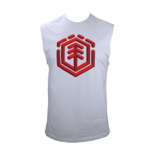 ELEMENT Mens LOGO White Singlet T Shirt Tank Top (S) NEW