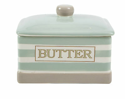 T&G Woodware Cream & Country Mint Stripe Butter Dish FREE DELIVERY  10992