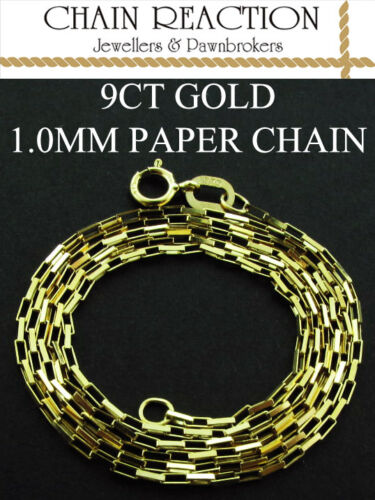 """375 9CT YELLOW GOLD 16/"""" 18/"""" 20/"""" PAPER LINK PENDANT BOX STYLE CHAIN NECKLACE"""
