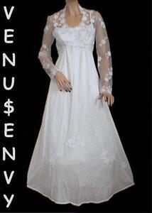 VTG-80s-Ivory-with-White-CROCHET-LACE-Tatting-WEDDING-DRESS-M-Empire-Waist