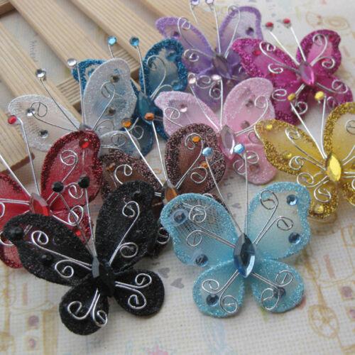 Mix Rhinestone Organza Butterfly Crafts Wedding Decoration Upick 10//30pcs ZXA020