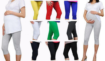 Brand New Cropped Maternity Leggings 3/4 Length Cotton Multicolours Over Bump HQ