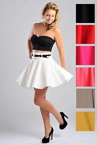 Womens-Full-Circle-Skater-Style-Plain-Short-Skirt-w-Belt-Ladies-Brand-New-UK8-14
