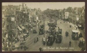 Glos-BRISTOL-Old-Market-St-Trams-Theatre-RP-PPC