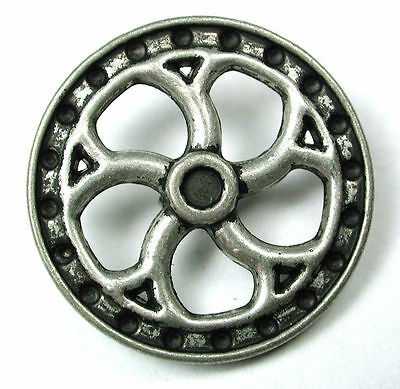Steampunk Button Machine Mechanism Antique Silver Pierced - Gear
