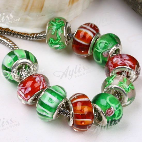 10PCS Red Green Lampwork Glass European Beads Big Hole Fit Charm Bracelet New