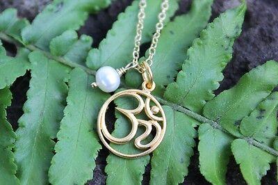 Pearls of Wisdom Gold Aum Necklace - zen meditation om charm & freshwater pearl