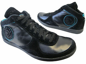 Diesel-Mens-Tell-Black-Leather-Casual-Fashion-Sneakers-Lace-Up-Shoes-9-5