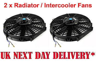 """Pair of Universal 9"""" Electric super Cooling Radiator Intercooler Fans 9 Inch"""