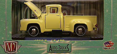 M2 MACHINE 1:64 SCALE DIECAST METAL SPRINGTIME YELLOW 1956 FORD F-100 TRUCK