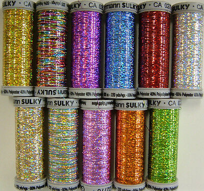 Gutermann Sulky Holoshimmer Thread 200m spool - for embroidery, fly tying