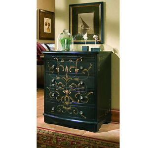 BEAUTIFUL-Hand-painted-BLACK-ACCENT-onyx-Chest-dresser-NEW