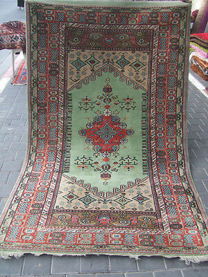 Original Turkish wool rug  carpet 1950-1960 212x130-cm / 83.4x51.1-inches