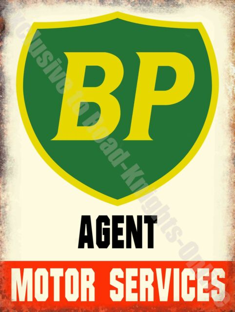 Vintage Garage BP Petrol, Motor Service Oil Old Advert 15, Large Metal/Tin Sign