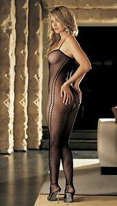 Black-Fishnet-Bodystocking-Lace-Down-Side-Criss-Cross-Front-Open-Crotch-One-Size