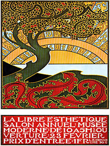 Vintage decoration design french poster art nouveau tree for Poster decoratif