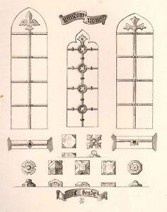 A-Pugin-039-s-Litho-Iron-amp-Brass-Design-1835-WINDOW-IRON
