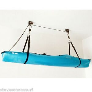 Gear-Up-Kayak-Hoist-for-garages-etc-120lbs-capacity-takes-Canoe-SUP-Roof-Box
