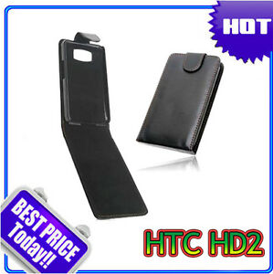 Black-Flip-Leather-Case-Cover-for-HTC-HD2-HD-2-Leo