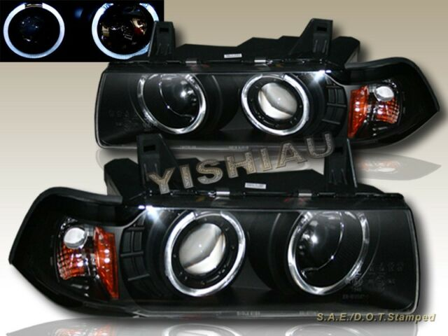 1992-1998 BMW E36 3 SERIES 2 DOOR COUPE TWO HALO PROJECTOR BLACK HEADLIGHTS
