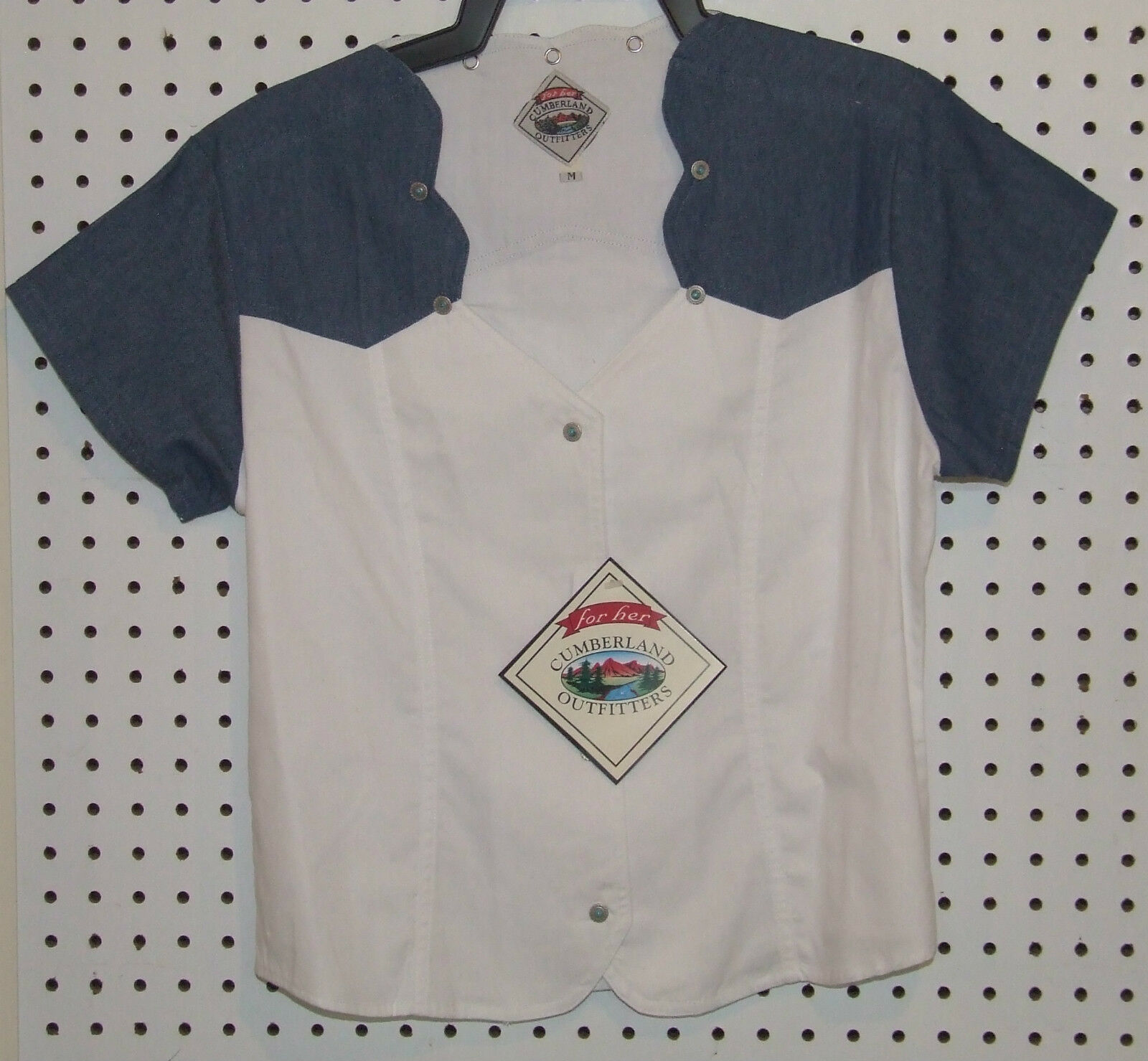 Ladies Short Sleeve Western Show Shirt White Denim Turquoise Rodeo Barrel    119