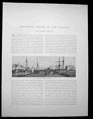 New Zealand Australasia Antique Print Of Queen Street Wharf Auckland 1886 Pic