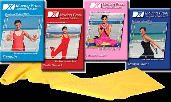 Easy Exercise DVDs for Seniors, Beginners, Moving Free 4 Pack with Exercise Band