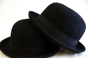 STEAMPUNK-GOTHIC-Victorian-Edwardian-LARP-100-WOOLFELT-Wide-Brimmed-Bowler-Hat