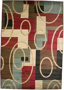 8x10 Broadway Area Rug Rugs New Modern Large Huge Red Blue