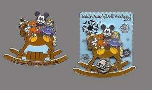 Disney-WDW-Teddy-Bear-and-Doll-Weekend-2001-2-Pin-Set-3D-Movement-GWP-LE