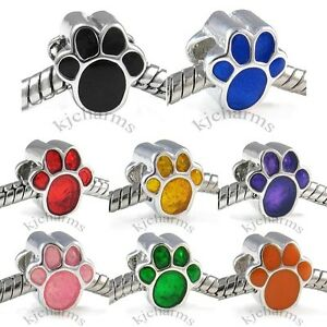Dog-Paw-Silver-European-Spacer-Charm-Bead-For-Bracelet-Necklace