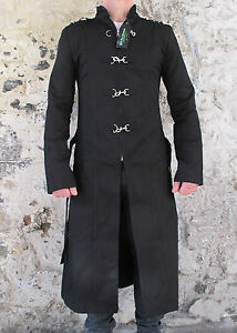 Military-Trench-Coat-Criminal-Damage-Blacklist-Steampunk-Hook-Black-Gothic