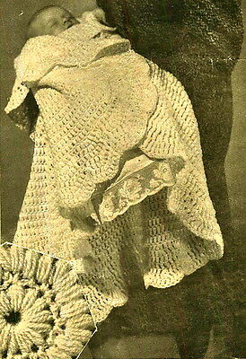 Vintage crochet pattern - make a sweet lace circular heirloom baby shawl 2ply