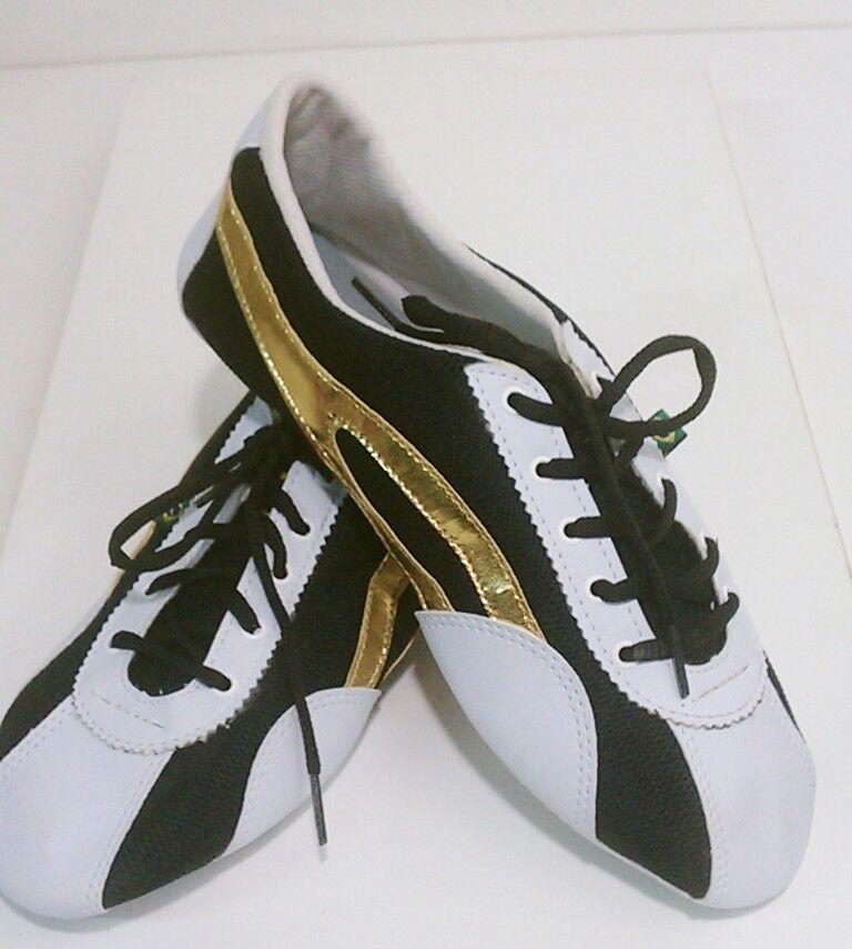 Taygra Brasil White Black & gold Slim Sneakers Flexible & Light shoes Size 38