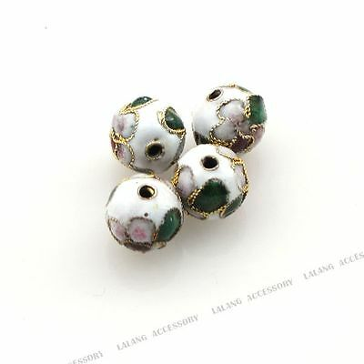 50x 160191 New Wholesale Charms Round White Flower Cloisonne Beads 8mm