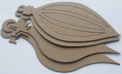 2 PAiRS of ViNTAGE ORNAMENT -  Bare Unfinished Christmas Chipboard Die Cuts