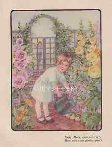 mary mary quite contrary coloring page - mary mary quite contrary garden 1908 antique vintage color