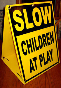 SLOW- CHILDREN AT PLAY Sandwich Board Sign Kit Portable