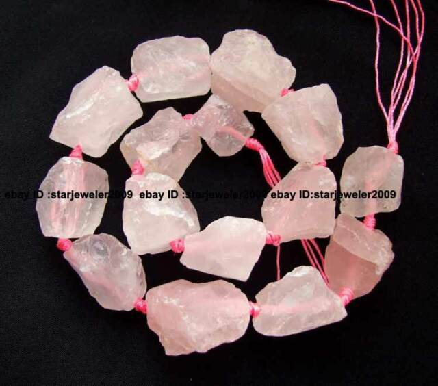 "rough 20-25mm natural Rose Quartz freeform Beads 16"" high quality gemstone new"