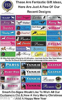 "Horse stable door personalised name plaque sIgn plate 12"" x 4"" full colour print"
