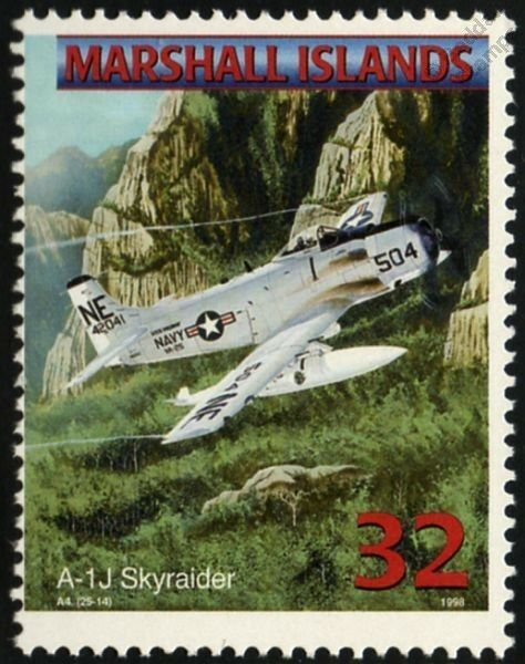 US Navy DOUGLAS AD A-1 SKYRAIDER Attack Jet Aircraft Airplane Mint Stamp