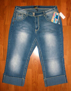 Angels-Womens-Stretch-Medium-Blue-Capri-Cuffed-Jeans-700106CNMM