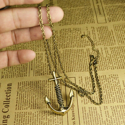 """Women's Vintage Jewelry Bronze Charm Anchor 30""""Necklace Gift EGC"""