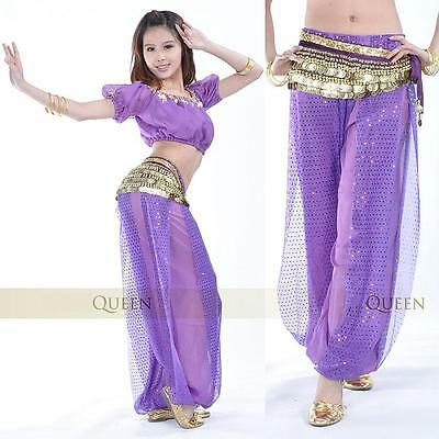 SF06# Belly Dance Costume Short-Sleeve Top Coins Scarf & Harem Pants 11 Colors