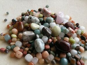 100 pc Mixed Gemstone Pebble Nugget Beads Lot Small to Extra Large Great Variety