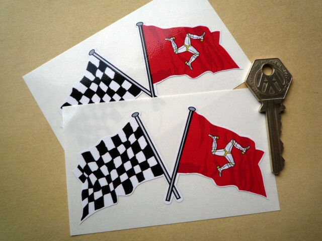 TT Races Crossed Check & Isle Of Man Flags 4inch Racing stickers pair Manx GP