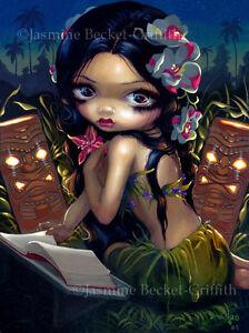 Jasmine-Becket-Griffith-art-print-SIGNED-Amara-and-the-Book-tropical-tiki-hawaii